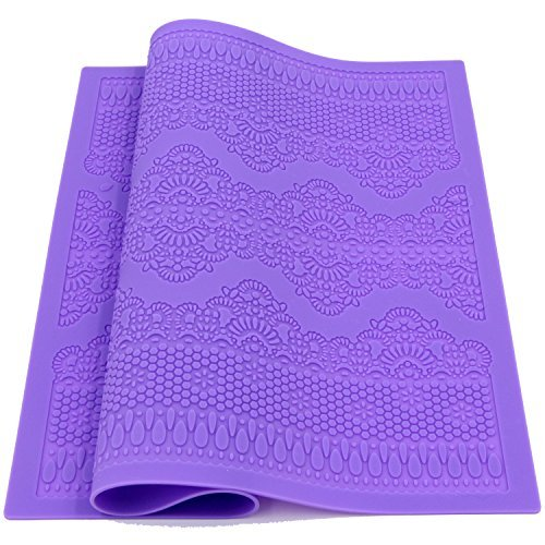 Sunglory Fondant Silicone Lace Mat Cake Decorating Mold Flower Laces Embossed Sugar Craft Tools (Purple)