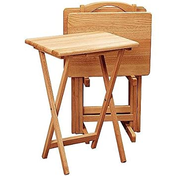 Amazon Com Wooden And Folding Tv Tables Set Of 4 With