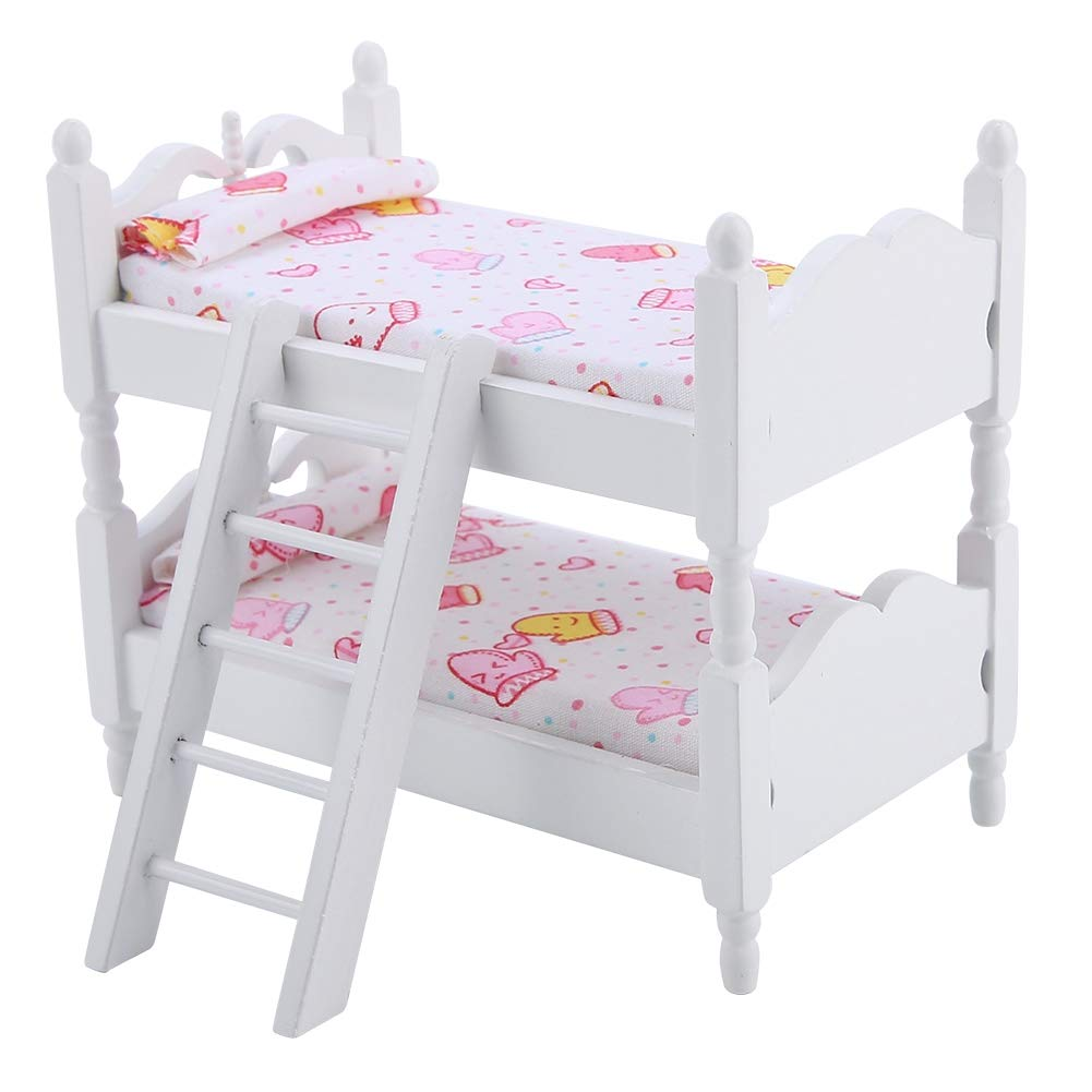 HelloCreate Doll Bunk Bed, House Mini Furniture Children Bedroom Model Bunk Bed Toys(Pink gloves)