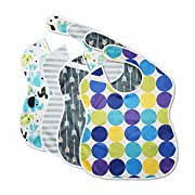 Premium Large Waterproof Baby Bib Easily Wipes Clean! Cute Feeding Toddler Bibs. Secure Snap Buttons Keeps Stains Off Clothing! Gift Set of 4 Soft Colors (Elephants, Arrows, Circles, Stripes)