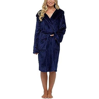 Robe De Chambre pour Femmes en Coton éPonge Grand Taille Peignoir Polaire  avec Capuche Et ChâLe 4856bd38af31