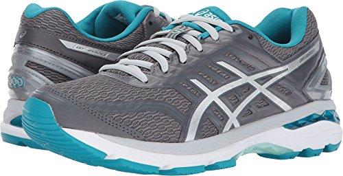 ASICS Womens GT-2000 5 Running Shoe, Carbon/Silver/Arctic Aqua, 5.5 Medium US