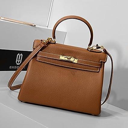 GUNAINDMX Sac à main taille sac femelle modèle Litchi motif Messenger sac sauvage sac à main femme,noir 28cm