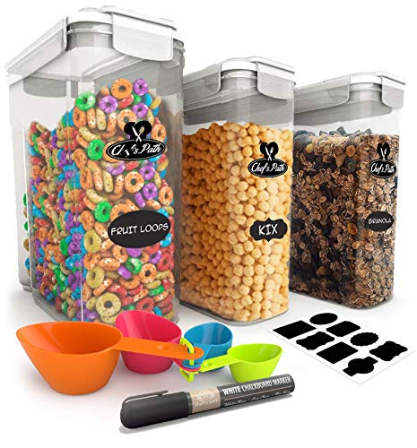 (Cereal Container Storage Set - 100% Airtight Food Storage Containers, 8 Labels, Spoon Set & Pen, Great for Flour - BPA-Free Dispenser Keepers (135.2oz) 3PC - Chef's Path)