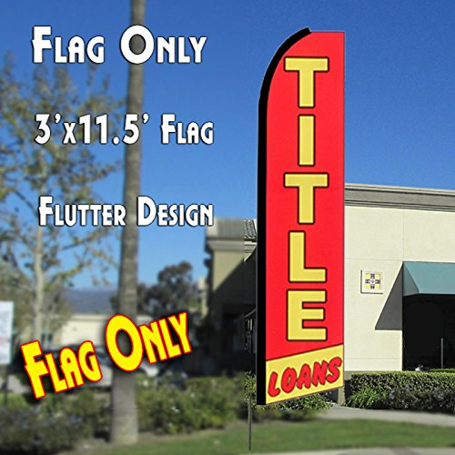 Title Loans  Red Yellow  Flutter Feather Banner Flag  11 5 X 3 Feet