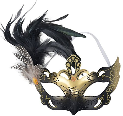 [Simplicity Masquerade Painted Feather Mask Half Face Plastic Eyemask, Black] (Homemade Catwoman Costume For Children)
