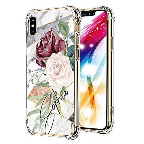 Yoedge Case for iPhone Xs Max, Clear Floral Pattern [Ultra Slim] Back Cover Shockproof Soft TPU Silicone Bumper Case with Protective Air Cushion Corners for Apple iPhone Xs Max (Sophia)
