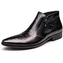 Zorgen Men's High Boots Genuine Leather Embossing Leather Zipper Rubber Sole Fashion Chukka Boots