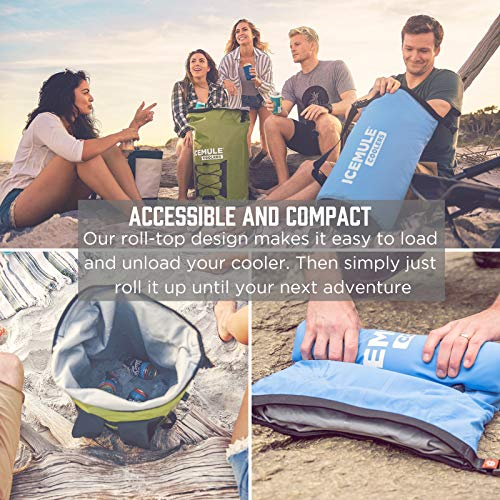 ICEMULE Classic Insulated Backpack Cooler Bag – Hands-free, Highly-Portable, Collapsible, Waterproof & Soft-Sided Cooler Backpack for Hiking, the Beach, Picnics, Camping, Fishing – 10 Liters, 6 can