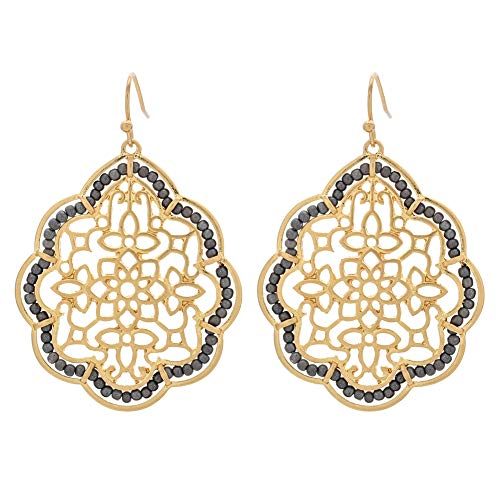 Gold Filigree Large Dangle Earrings for Women Girls- Hollow Teardrop Fashion Earrings ()