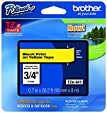 Brother P-touch Genuine TZe-641~3/4'' (0.7'') Black on Yellow Standard Laminated Tape –26.2 ft(8m) (TZE641)