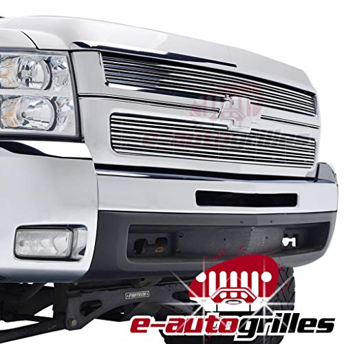 EAG Polished Aluminum Billet Grille Horizontal Overlay 3D for 07-10 Chevy Silverado 2500HD/3500HD
