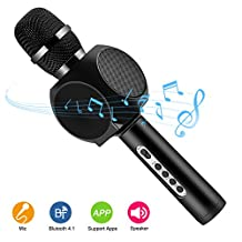 Wireless Bluetooth Karaoke Microphone Speakers HURRISE Mic Player Recorder with Phone Holder Echo Noise Reduction for iPhone Smartphone (Black)