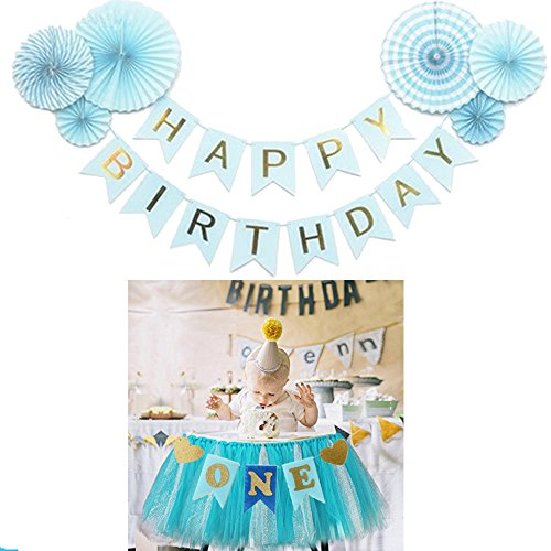 Baby Boys First Birthday Party Decorations Pack - 6 Pcs Blue Decorative Tissue Paper Fans - One