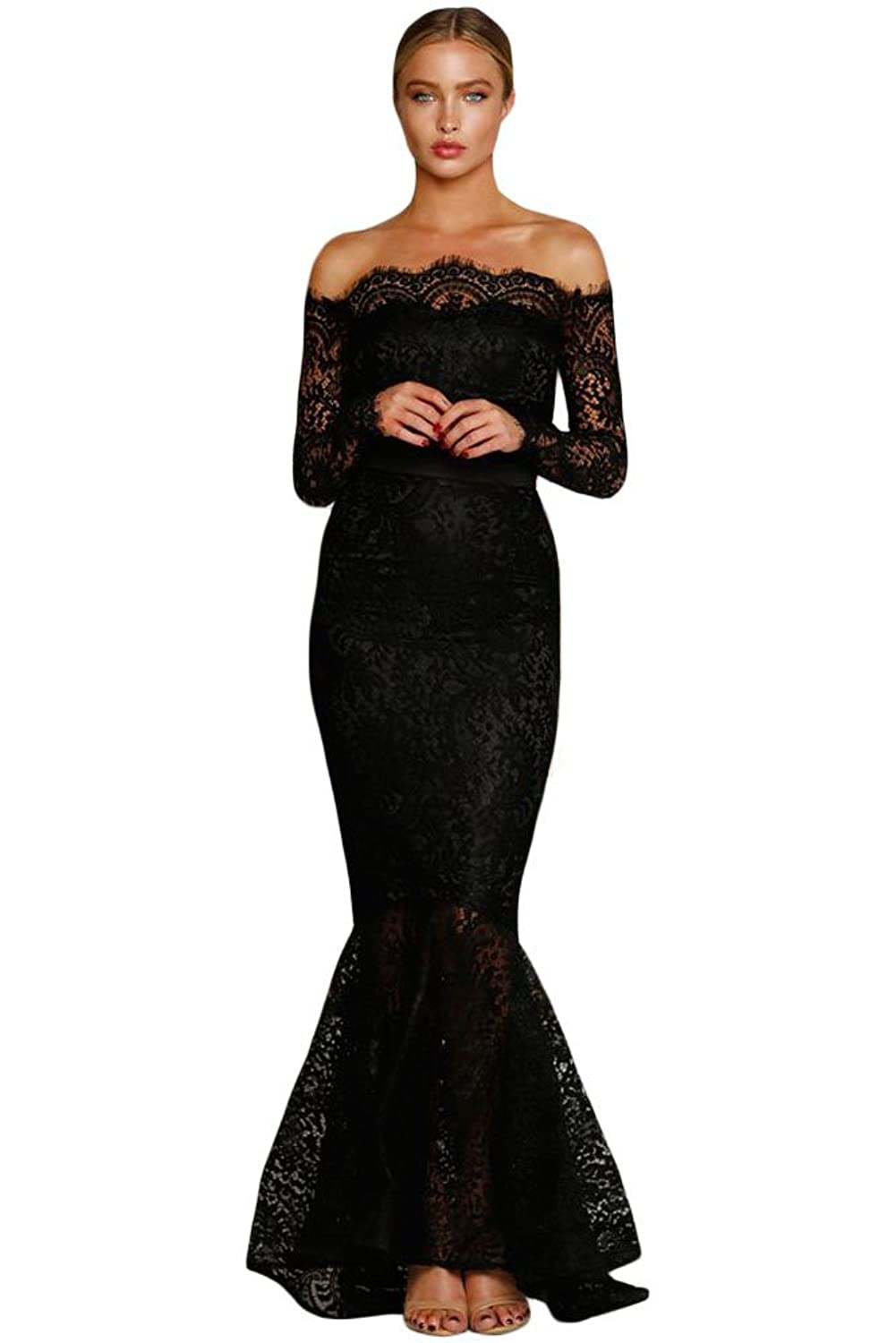 Ladies Eyelash Lace Off Shoulder Long Sleeve Mermaid Formal Autumn Party Dress