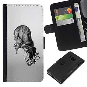 Planetar® Modelo colorido cuero carpeta tirón caso cubierta piel Holster Funda protección Para HTC One M9 ( Chica Negro Blanco Dibujo minimalista)
