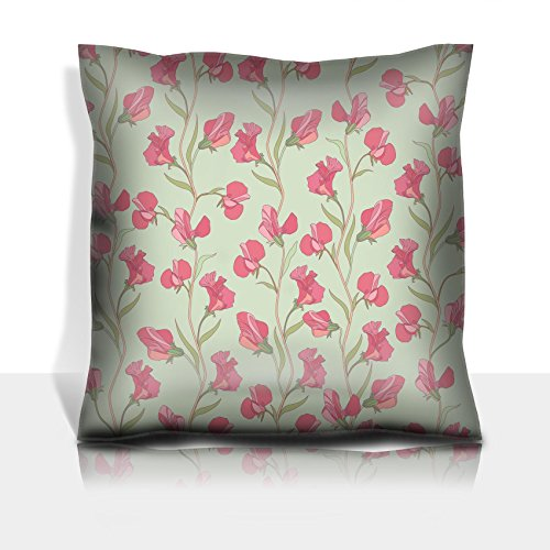 (Liili Throw Pillowcase Polyester Satin Comfortable Decorative Soft Pillow Covers Protector sofa 16x16, 1pack Floral seamless texture with sweet pea flowers Photo 19620982)