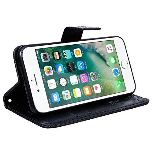 SMART LEGEND Lederhülle für iPhone 7 Ledertasche Hülle Rot Drucken Weinstock Muster Schutzhülle Premium PU Leder mit Handschlaufe Flip Case Protective Cover Innere Weiche Silikon Bookcase Handy Tasche