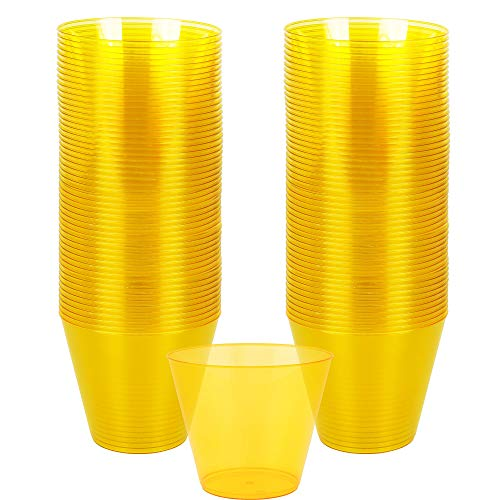 Big Party Pack Sunshine Yellow Plastic Cups   9 oz.   Pack of 72   Party Supply