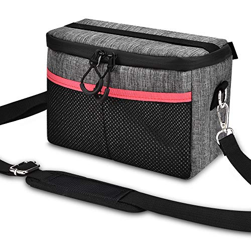 UTEBIT DSLR Camera Lens Case Nylon Shoulder Bag for Women Man Waterproof Grey Lens Insert Bag Small Camera Travel Bags Compatible for Nikon and More Cameras and Lenses ()