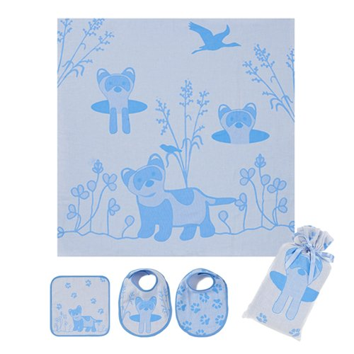 Breganwood Organics Muslin Swaddle Blanket Comes In Its Own Muslin Bag And Includes 2 Matching Bibs And A Wash Cloth, Soft Blue Adorable Ferret Design, Perfect For Your Precious Newborn