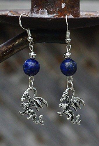 Lapis Lazuli Stone Welsh Dragon Tibetan Silver Charm (Silver Welsh Dragon)
