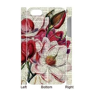 Vintage Flower Watercolor Unique Design 3D Cover Case for Iphone 4,4S,custom cover case ygtg587607