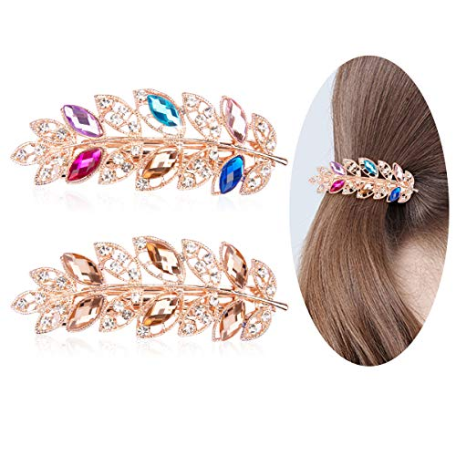 Canitor 2 Packs Women s Exquisite Leaf Shaped Jeweled Hair Clips, Crystal and Rhinestone Hair Clip Barrettes Accessaries for Women and Girls