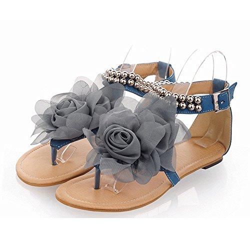 Nonbrand Women's Flower T bar slipper summer sandals flat shoes Pink b2ZUH