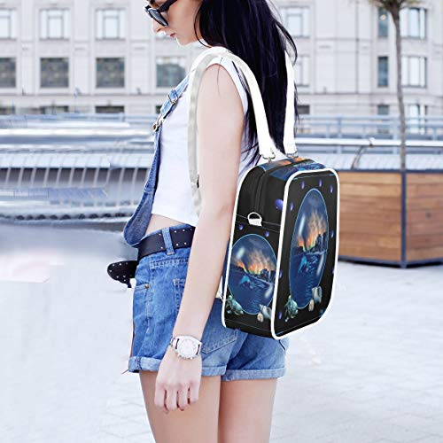 Women Classic Backpack/Shoulder Bags,Oc Scene Bubble Dolphins Lightweight Travel Daypack Wide Open Backpacks Large Capacity for Ipad,16k magazine,A4 paper (The Oc Best Scenes)