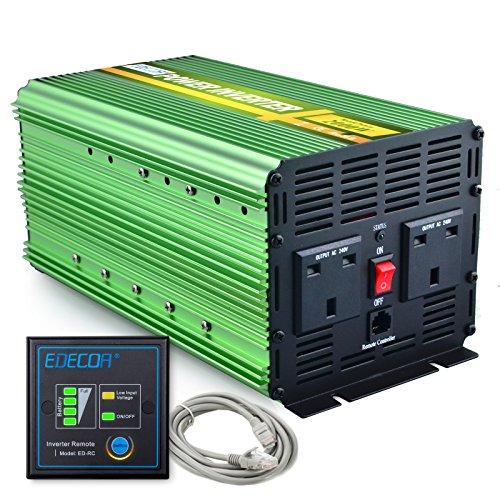 EDECOA 2000W Power Inverter DC 12V to 240V AC with Remote Control - Green