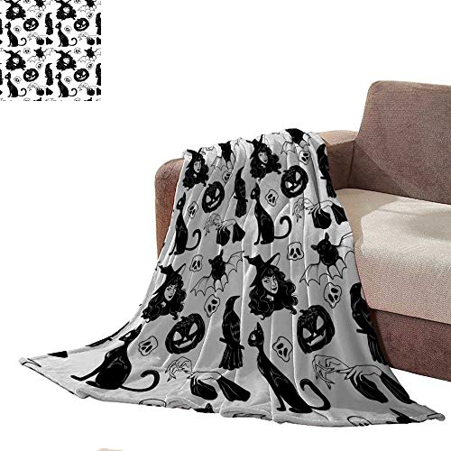 Zmstroy Throw Blanket Vector Seamless Pattern with Halloween Cute Hand Drawn Elements Set Texture for Wallpapers Pattern Fills Web Page Backgrounds Queen Size Blanket L90 xW70 -
