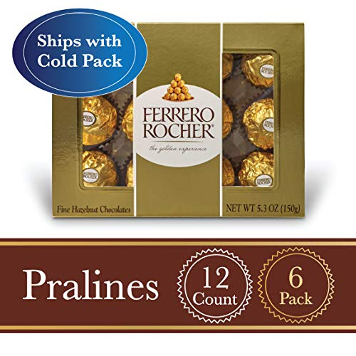 Ferrero Rocher Fine Hazelnut Milk Chocolate, 12 Count, Pack of 6 Individually Wrapped Chocolate Candy Gift Boxes, 5.3 oz]()
