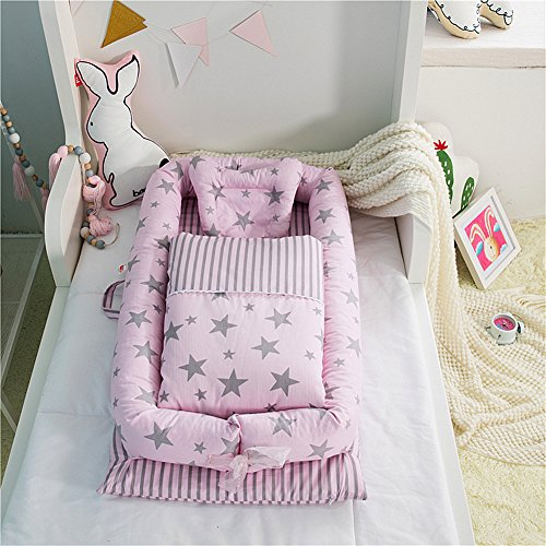 Baby Bassinet for Bed - Star Printed Baby Lounger Quilt Pillow - 100% Cotton Portable Crib for Bedroom/Travel - Breathable & Hypoallergenic Co-Sleeping Pink Baby Bed for Girls by Ukeler