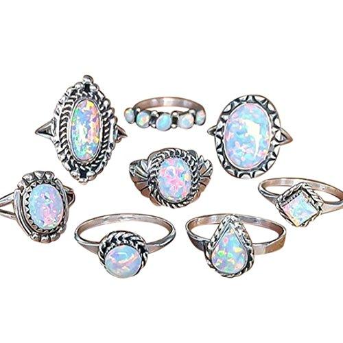 Women Girls Stackable Band Rings Set Cuekondy Natural Gemstone Fire Opal Diamond Engagement Wedding Anniversary Statement Ring (8Pcs) (Opal Frame Wedding)