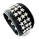 D'SHARK 1.5'' Wide Star Design Biker Leather Bangle Cuff Bracelet Wristband for Unisex (Black)