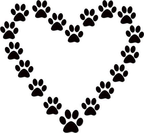 Amazon Com Dog Paw Print Heart Dog Lover Black Vinyl Wall Decal Home Kitchen