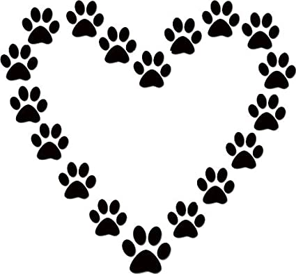 Amazon Com Dog Paw Print Heart Dog Lover Black Vinyl Wall Decal