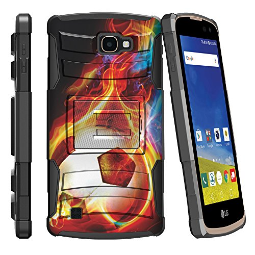 (MINITURTLE Case Compatible w/LG K4 Case| Zone 3 Case| LG Spree | Rebel LTE Case Dual Layer Shell [Clip Armor] Shell Belt Holster Clip Case - Flaming Soccer Ball)