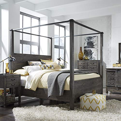 (Magnussen Furniture Canopy Bed in Weathered Charcoal Finish (Queen: 89 in. L x 64 in. W x 88 in. H))