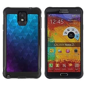 "Pulsar iFace Series Tpu silicona Carcasa Funda Case para SAMSUNG Galaxy Note 3 III / N9000 / N9005 , Polígono púrpura azul del papel pintado abstracto"""