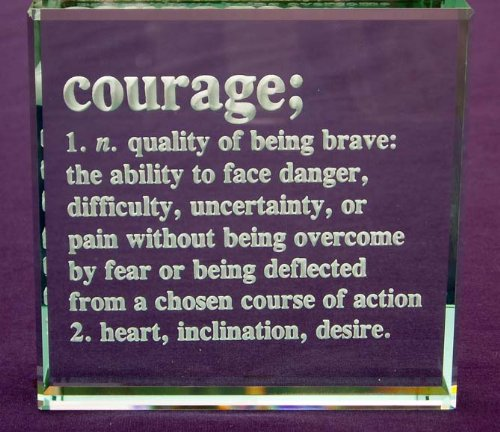 Courage Definition: Hand Carved Etched Glass Paperweight by Crystal Etch (Image #2)