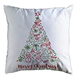 Pgojuni Christmas Cozy Pillowcase Super Soft Decoration Throw Pillow Cover Cushion Cover Square Pillow Case Sofa/Couch Home Decor 1pc 45cm×45cm (D)