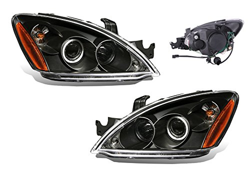 Mitsubishi Halo Projector (SPPC Projector Headlights Black Assembly Set (CCFL Halo) for Mitsubishi Lancer - (Pair) Driver Left and Passenger Right Side Replacement Headlamp)