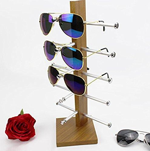 Display Rack, Petforu Wooden Sunglasses Holder Eyeglass Collections Display Stand (Wood Color) by World Pride (Image #1)