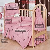Browning Baby Pink W/ Buckmark 7 Pc Baby Crib Set - Gift Set, Save By Bundling!