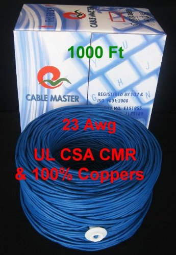 in-Wall Rated UL//CSA CMR 100/% Copper 23 Awg Ethernet Solid Copper Bulk Cable UTP Cat 305M 6 Blue Color,1000 ft//