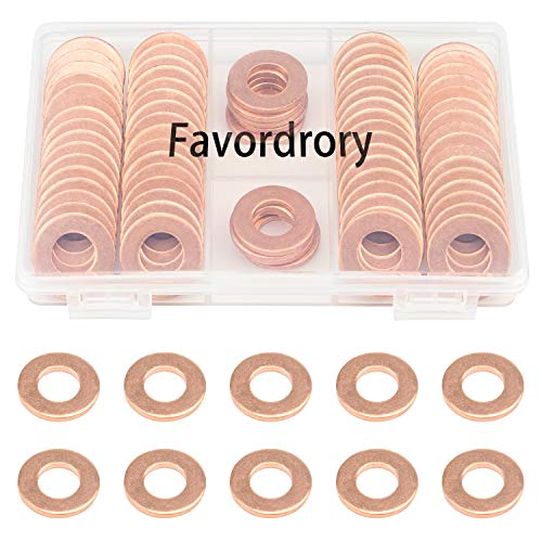Favordrory Copper Washers, M10 x 20 x 2mm Metric Flat Copper Sealing Washers, 60PCS
