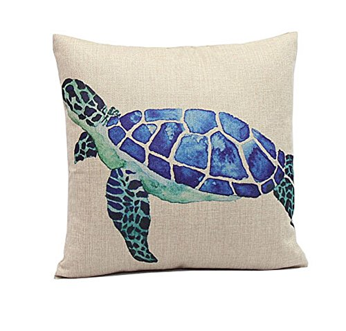 [Crazy Cart Cotton Linen Square Blue Sea Turtle Home Decorative Pillowcase Cushion Cover] (Lobster Costume Pattern)