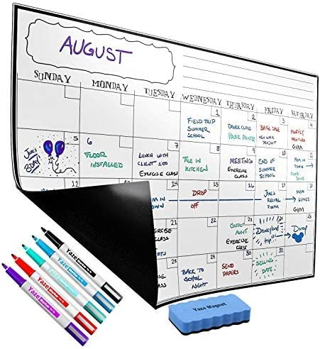 Magnetic Dry Erase Weekly Calendar for Fridge Whiteboard Organizer Planner Refrigerator White Board 17x12-4 Fine Tip Markers and Large Eraser with Magnets with Stain Resistant Technology